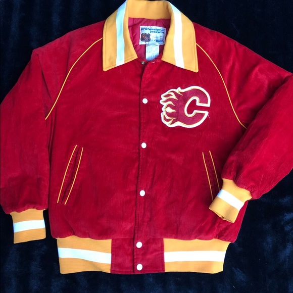 new products f263f 1a773 Vintage NHL Calgary flames corduroy Jacket